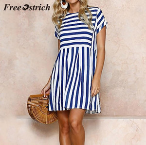 Casual Dresses Free Ostrich S Womens Holiday Short Sleeve Striped Ladies Summer Beach Mini Swing Sun Dress Bohemian Loose Pink Dress1