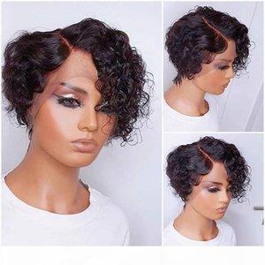 4x4 13x4 кружева передний парик Pixie Cut короткий кудрявый боб натуральный цвет человеческих волос парики для черных женщин HD прозрачный кружевной реми