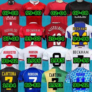 Манчестер Ретро 1992 07 08 94 98 99 86 88 94 98 99 86 88 1990 2002 United Soccer Jersey V.nistelrooy Man Giggs Scholes Beckham Ronaldo Cantona Solskjaer