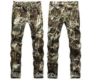 Wholesale-Mens Snake Skin Print Camoflague Original Designer Slim Hip Hop Rock Jeans Pants Men Skinny Jeans Streetwear 29-38