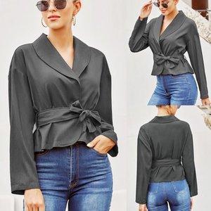 Women's Blouse Ladies Bandage Shirt Cardigan Long-sleeved Upper Garment Females Top1