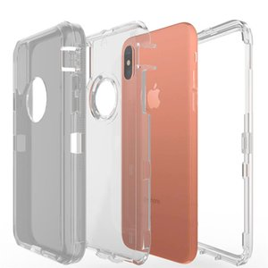 Transparent Heavy Duty Defender Case Shock Absorption Crystal Clear Case For Iphone XS Max XR 8 Plus No Clip OPP Bag