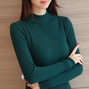 Knitted Sweater Turtleneck Women Winter Autumn Long Sleeve Female Slim Thin Ladies Tops Womens Pullovers Pull Femme Hiver