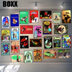 Tintin Cartoon Movie Tin Sign Metal Plate Iron Painting Kids Room Wall Bar Coffee Home Art Craft Decor Art Poster 30X20CM