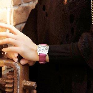 EYKI Frauen Leder Uhren klassischer Entwurf Rechteckige Femal wasserdichte Uhren Dame-Frühlings-Kleid-Armbanduhr-Weihnachtsgeschenk