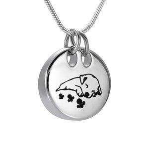 IJD9941 Netter Schlafhund Edelstahl Pet Memorial Urn Anhänger aus Stahl / Rose Gold / Gold / Schwarzer Hund äuren Asche Urn Halskette