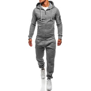 ZOGAA Men Hoodies Sport Suit Fall   Winter Male Casual Sportswear Tracksuit Solid Sweatshirt&Pants High Street Casual Sweatsuit 201008