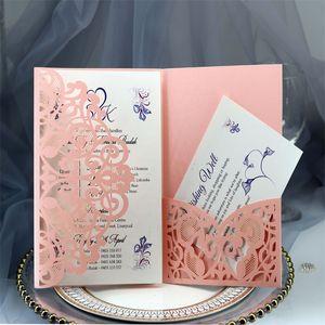 Hochzeitseinladungskarten Kits Frühlingsblume Laser Cut Pocket Bridal Einladungskarte Für Engagement Graduate Geburtstagsfeier 10 P2