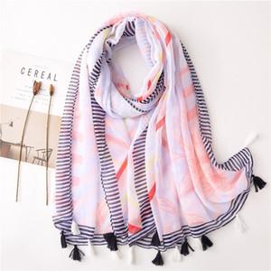 2020 New Beautiful Flower Print Tassel Scarves Shawls Long Women Soft Floral Wrap Scarf Hijab Free Shipping