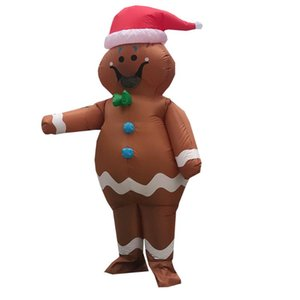 New Adult Christmas Party Dress Gingerbread Man Inflatable Costume for Woman Man Mascot Costumes Purim Halloween Cosplay Suit