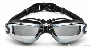 Men 'S And Women 'S Electroplating Anti -Fog Swimming Glasses With Earplugs Flat Goggles Aurora4y
