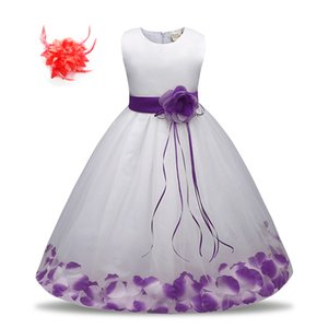 Kids Princess Birthday Party Clothes Flower Petal Children Special Occasion Dresses for Toddler Little Girl Wedding Gown