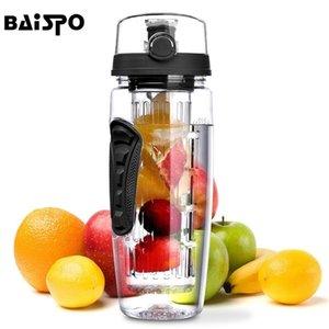 Baispo 32oz 900ml BPA Fruit Infuser Juice Shaker Sports ليمون زجاجة ماء جولة التنزه زجاجات معسكر تسلق المحمولة 201221