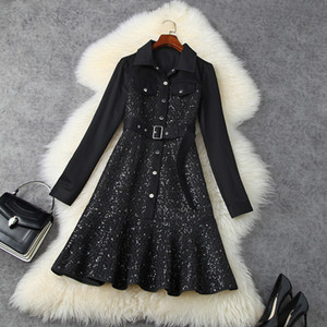 2020 Fall Autumn Long Sleeve Lapel Neck Black Pure Color Denim Tweed Panelled Belted Single-Breasted Dress Elegant Casual Dresses LO22T11452