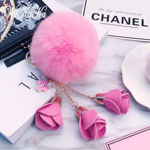 Fashion Fluffy Puff Ball leather Rose Flower Pompom Keychain car Key Chain Ring for Women handBag Jewelry 20201