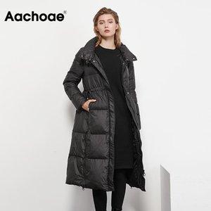 Aachoae solido lungo casuale donna parka manica lunga Lady imbottito Coat coulisse spessore caldo Linea cappotto invernale Femme Veste