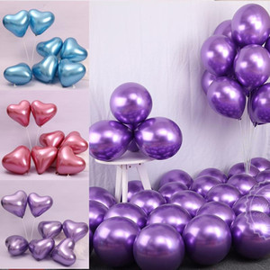 """20 unids / lote 12 """"2.8g Metallic En forma de corazón en forma de globo Metal brillante Cromo redondo Latex Balloon Fiesta de cumpleaños Día de San Valentín"""
