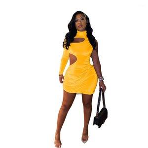 Sexy hueco out mini vestido de color sólido moda casual mujer ropa diseñador fiesta vestidos de fiesta alto cuello