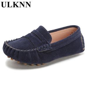 Ulknn Color Color Color Niños Mocasines de cuero suave Niños Moda Casual Chicos y niñas Zapatos de barco Solicitas 21-32 Zapato gris LJ201027