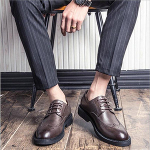 New Arrival Men Formal Shoes Office Business Wedding Dress shoes Oxfords Bullock Design Handmade Leather big size OO-98