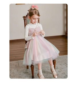 top quality kids clothes girls dresses autumn winter dress children party dress free shippingOB0Z