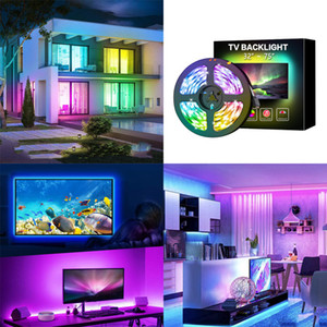2M USB LED Strip Light 5050 SMD USB RGB Lights Flexible LED Lamp Tape Ribbon RGB TV Desktop Diode Tape adapter