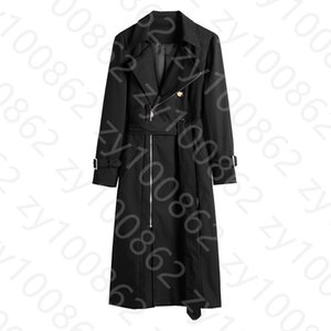 2020 Fall Autumn Sleeve Notched-Lapel Black Pure Color Belted Zipper Trench Coat Elegant Casual Long Outwear Coats WSP232021708 8BIQ