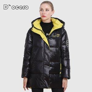 D`ocero 2020 novas mulheres jaqueta de inverno plus size cores brilhantes casaco mulheres com capuz espessas biológica jaqueta biológica parka outwear lj201127