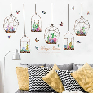 Colorful Flowers Cacti Hanging in the Glass Bottle Wall Stickers Butterfly Stickers for Living Room Bedroom Art Decals Murals