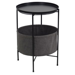 2-layer metal circular cloth side table bedside table tray table with fabric storage basket