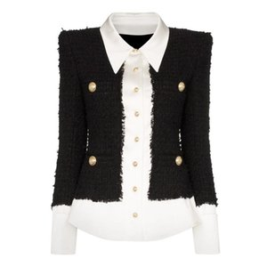 HIGH QUALITY 2020 Newest Fashion Designer Jacket Women's Lion Buttons Satin Wool Blend Patchwork Tweed Jacket
