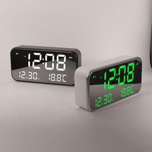 Moda Temporizador Digital LED Espelho despertador Mão Snooze relógios de mesa Música Função Wake Up Light Time eletrônico Display de temperatura