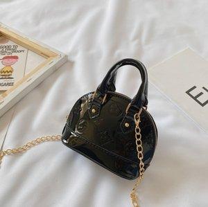 Fashion Children Shell Shell Crianças Impresso Único Couro A4840 Mini Meninas Designer Bag Bolsa Bolsa Mulheres Patente Batom Bolsa Cha Nibw