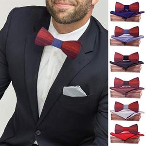 Fashion Novelty ties manuelle Boîte d'arc de nœud de bois manuel mouchoir pour hommes Bowtie Boîtier creux creux creux sculpté et boîte en bois