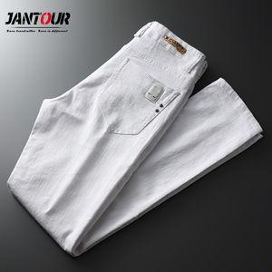 Jantour Marke Frühling Sommer Weiße Jeans Herren-Streetwear-Twill Hose Männer jean pontallon homme dünne Bleistift-Hosen männlich C1019