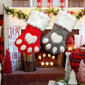 Christmas Tree Ornament Stockings Bag Xmas Red Grey Dog Paw Sock Party Kids Candy Gift Hanging Bags Hot Sale 11 5gm G2