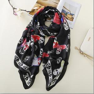 OLOME Vintage Black Skull Scarf Female Ladies Butterfly Print Grey Beach Scarves Shawls Women Stoles Hijab Foulard