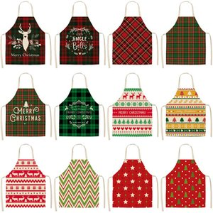 Linen Merry Christmas Apron Christmas Decorations for Home Kitchen Accessories Natal Navidad New Year Christmas Gifts DHC4411