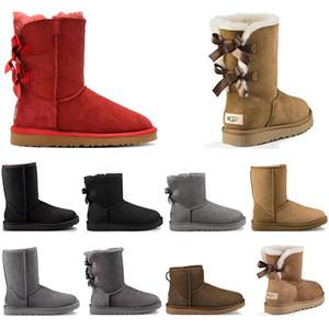 UGG 2020 جديد إمرأة أزياء الثلوج الأحذية الكستناء 2 القوس الظباء البني 1 ربطة الشتاء عارضة الفتيات السيدات الدافئة الفراء في الهواء الطلق الكاحل أحذية قصيرة