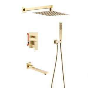 Casa de banho Duche Painel quarto escovado ouro Douche Kit chuveiro de mão bico Diverter Faucet 10 polegadas Praça Rain Shower Head Set Com Braço
