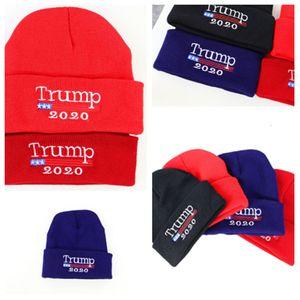 2020 sombrero nuevo Trump tapa de elección bandera americana personalizada gorros tejidos bordados campaña electoral beanies T2C5058 sombrero