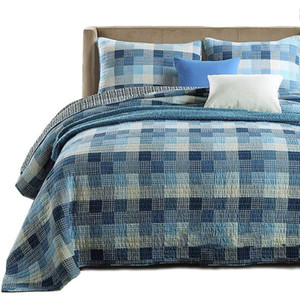 CHAUSUB Plaid Bedspreads For Double Bed Quilt Set 3pcs Coverlet Washed Cotton Quilts Soft Bed Cover Pillowcase King Size Blanket