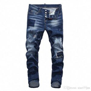 DSquaredDSQ2D2New 2019 Men Ripped Denim Tearing Jeans Navy blue Cotton fashion Tight spring autumn Men's pants A7903 xP