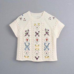Mulheres Vintage Sweet Floral Bordado Suéters 2020 Moda Verão Senhoras Senhoras Camisola Curta Feminino Bomb Bomb Knitwear Meninas Chic1