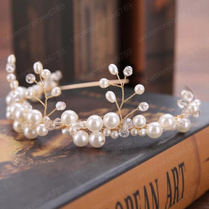 European hot-selling bride handmade white pearl hair lead buckle wedding dress accessories headband crown tiara bridal Jewelry