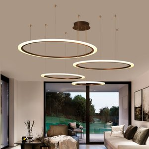 Circle Chandelier Modern LED Lights For Living Room Black Hanging Lamp Decoration Bedroom Home Luster With Remote Control