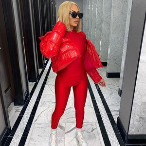 Сексуальная комбинезона Clubwear Red Black Sports Fitness Turtleneck с длинным рукавом Bodyocn Rumper One Piece Outfit Женщины