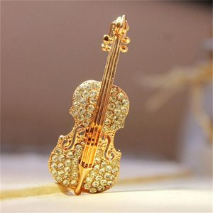 Fashion Pins Accessories Love lapel pin for Women Rhinestone Brooch wedding Broche Gold-Color Crystal Violin Scarf Brooches