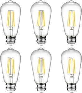 Vintage LED Edison Ampüller 60W Eşdeğer Dim LED Filament Ampul 600 Lümen Yumuşak Beyaz 2700K ST64 E26 Bankası 110V Yatak Odası Büro Dekor
