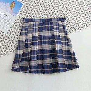 Net Red Blogger xadrez plissado novo Ins A-Line High Cintura Curta Calças de Saia